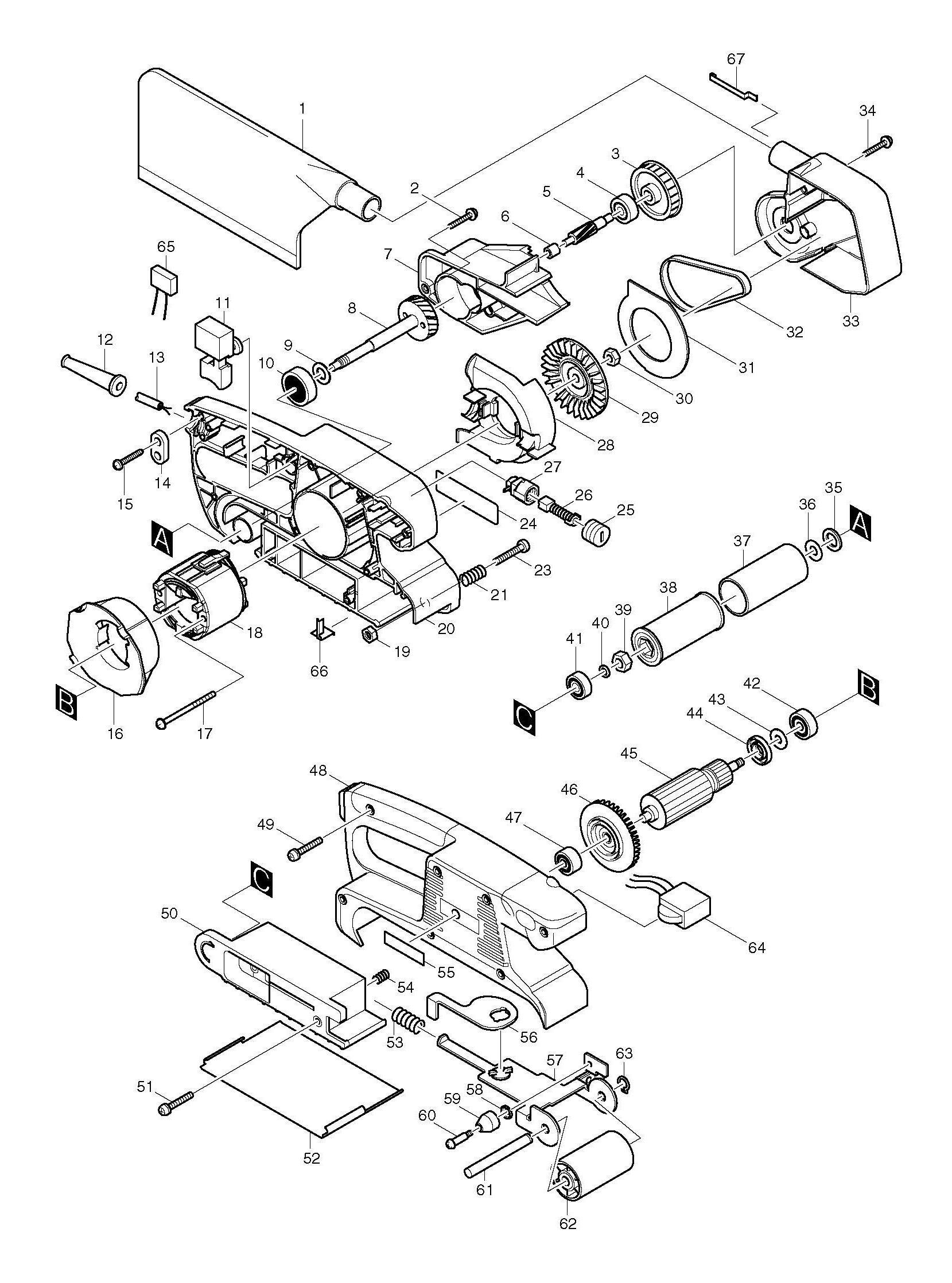 Spares for Makita 9911 Belt Sander 76x457mm SPARE_9911