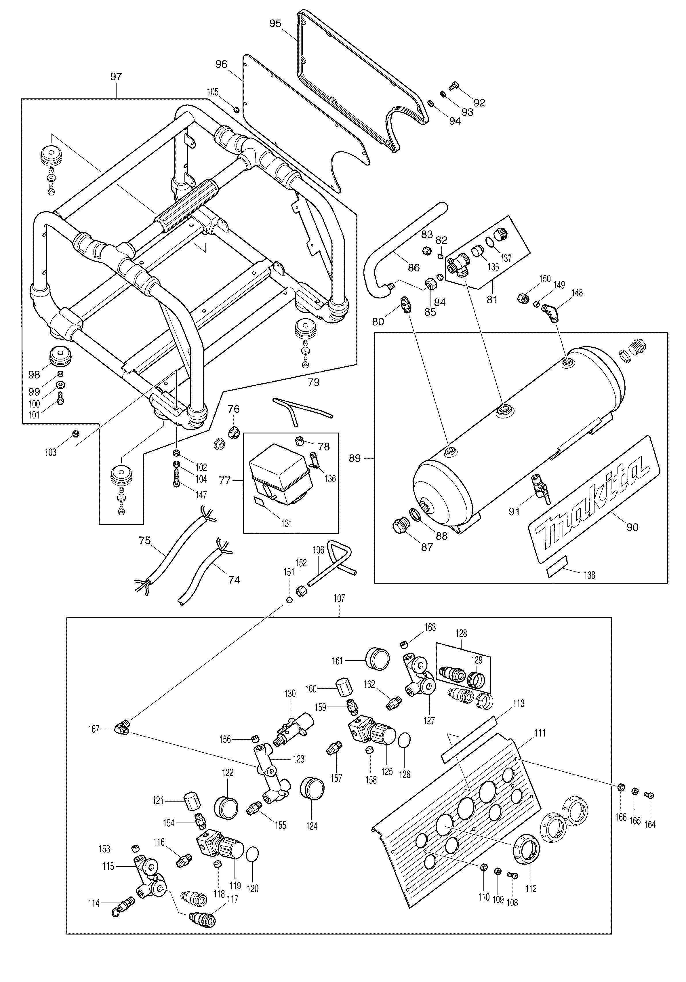 Spares For Makita Ac310h Air Compressor Spare Ac310h From Power Tool Centre
