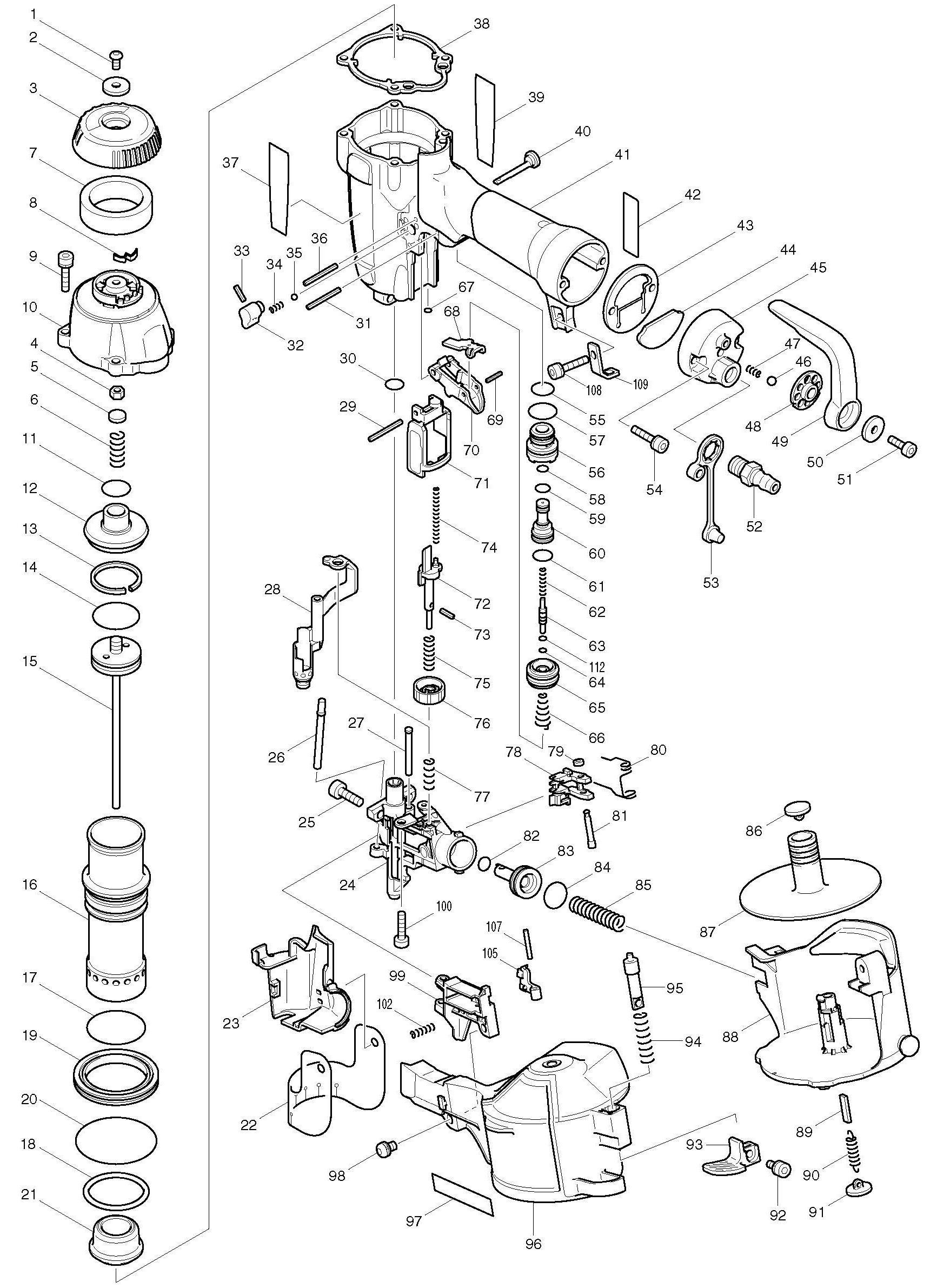 Spares for Makita An504 Construction Coil Nailer SPARE