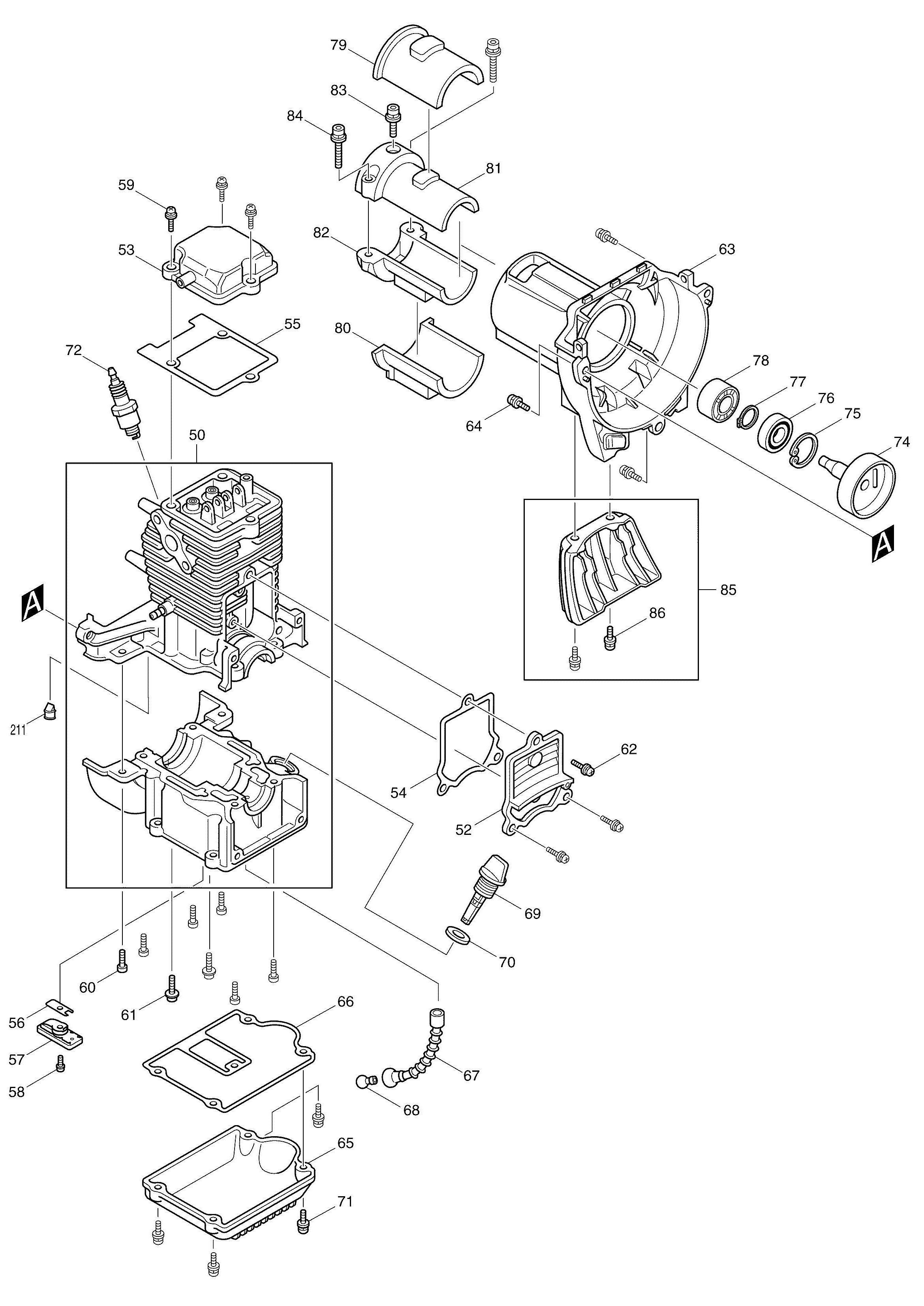 Spares for Makita Bcx2500 4 Stroke Brushcutter SPARE