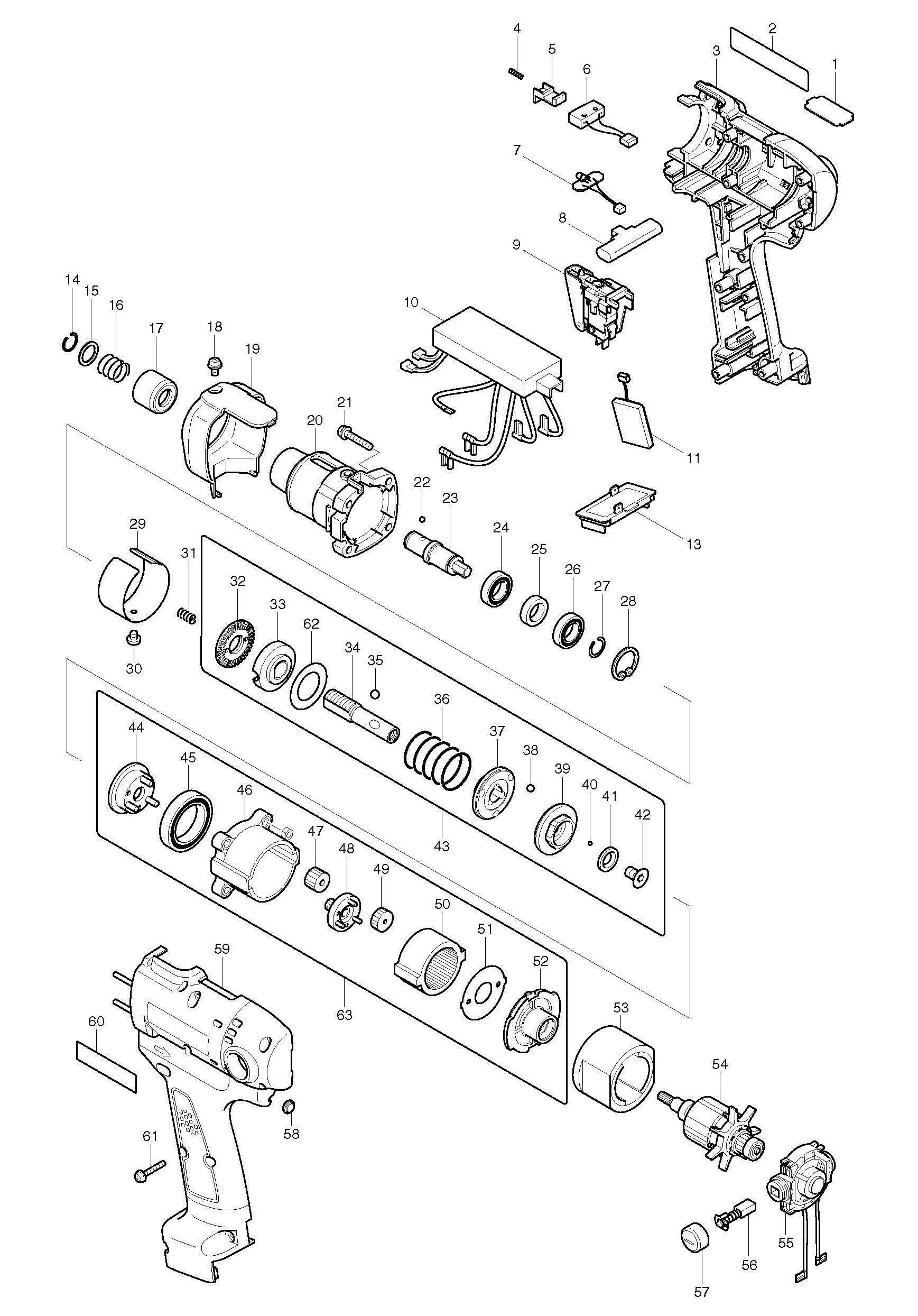 Spares For Makita Bft020f Screwdriver 9 6v Spare Parts