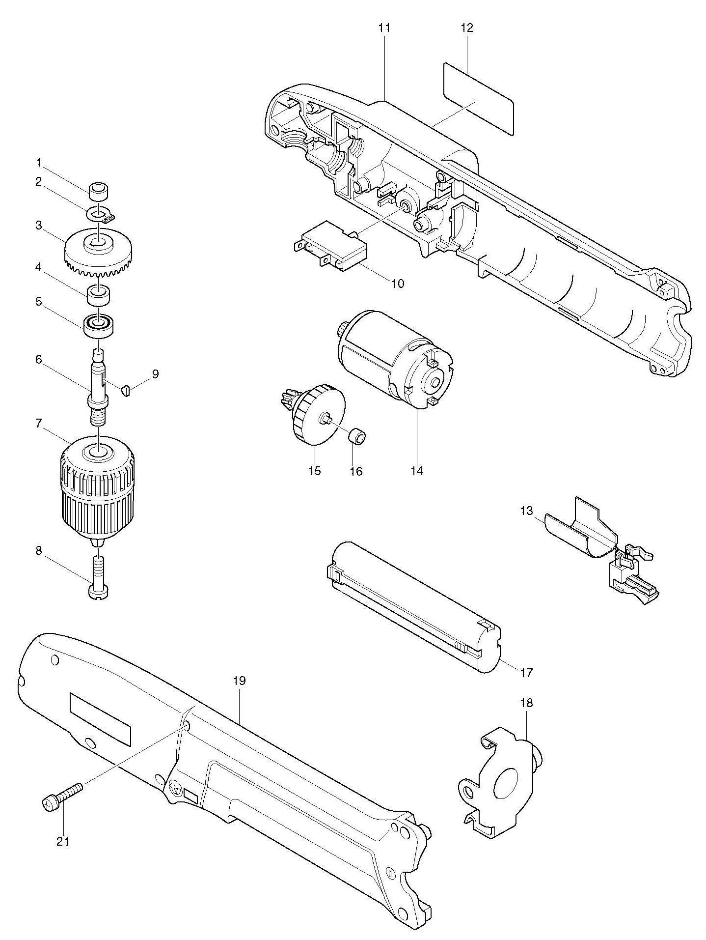 Spares for Makita Da391d Angle Drill SPARE_DA391D from