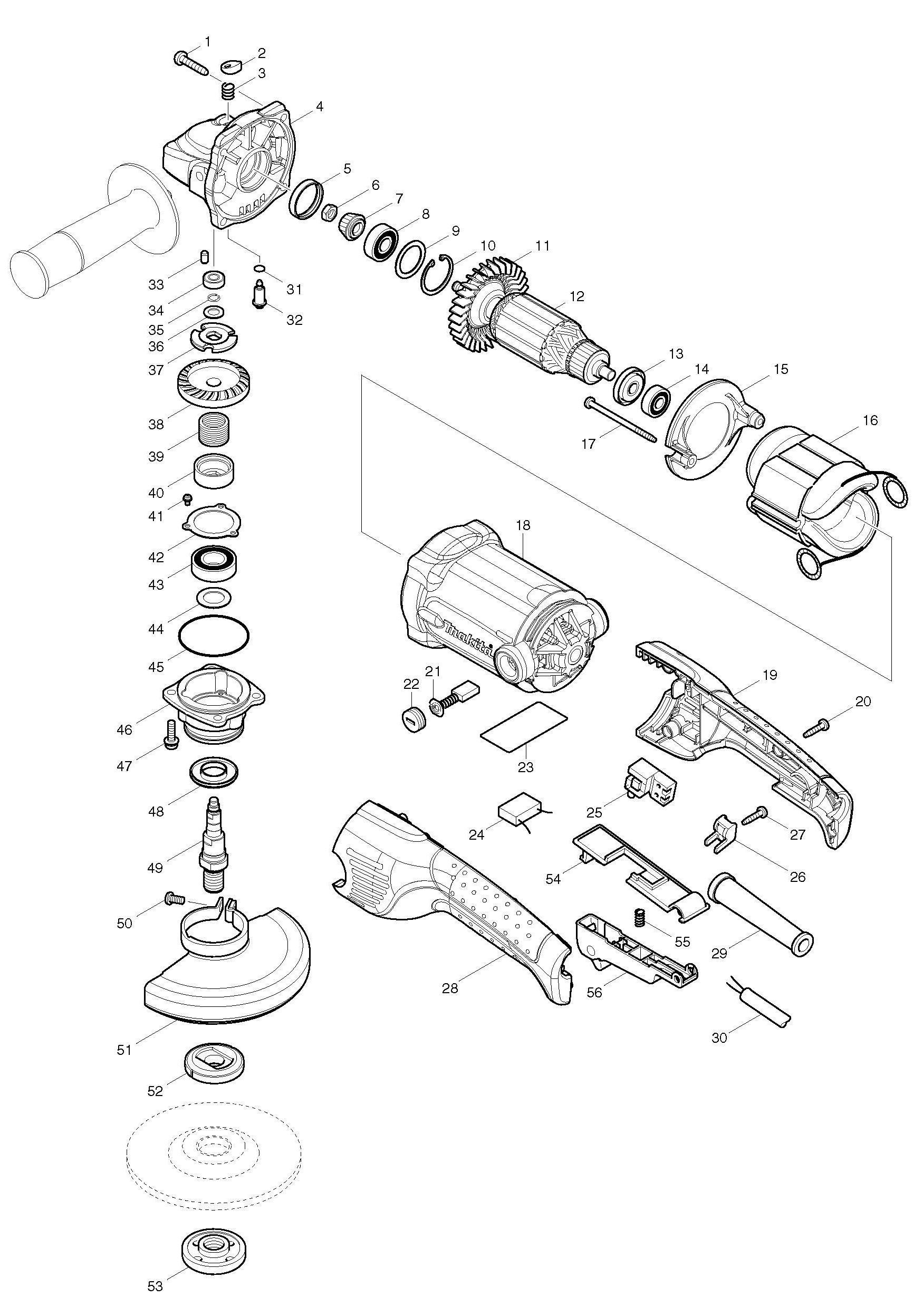 Spares For Makita Ga 125mm Angle Grinder Spare Ga