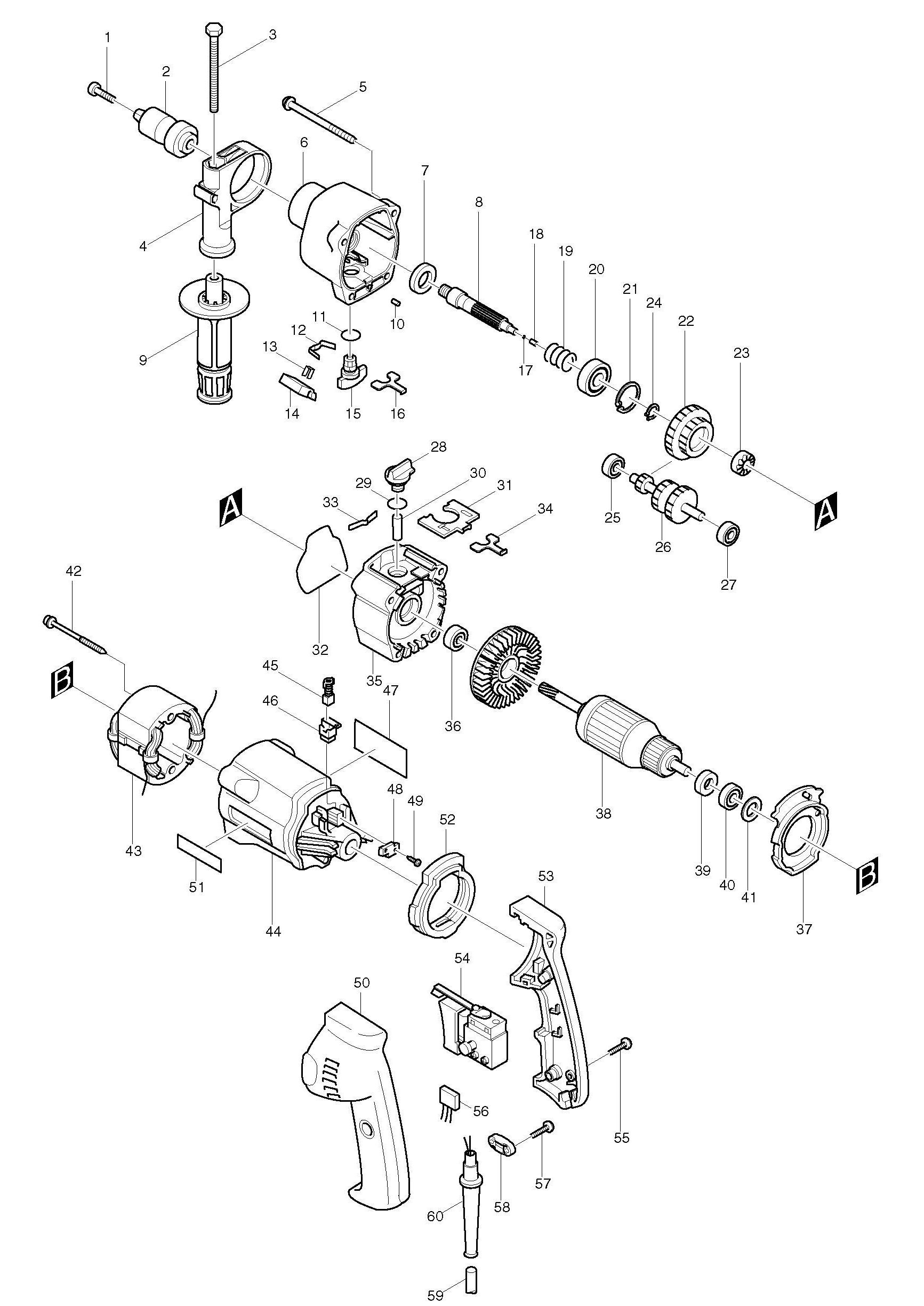 Spares for Makita Hp2033 Percussion Drill SPARE_HP2033