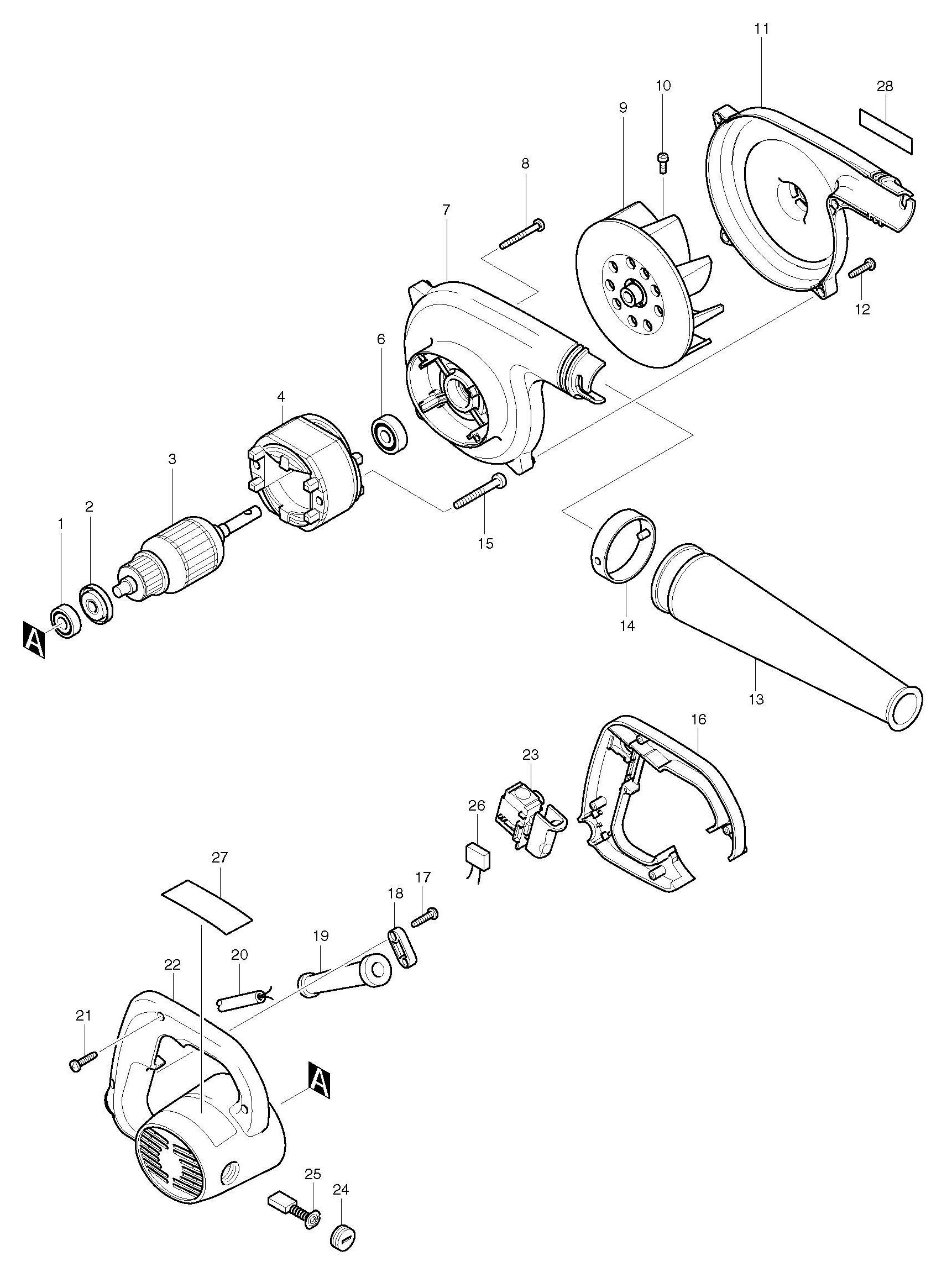 Spares for Makita Ub1101 Blower SPARE_UB1101 from Power