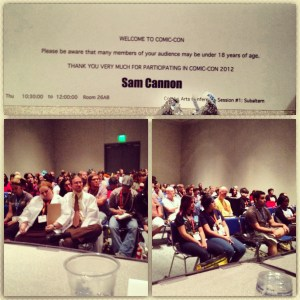 Presenter's name card and photos of the audience at the Comics Arts Conference