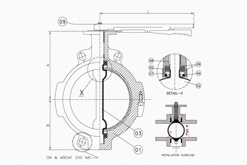 wafer_type_lined_butterfly_valve_line_diagram