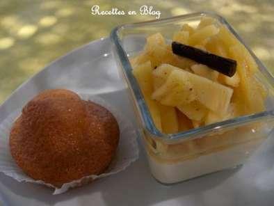 mini babas au rhum compotee d ananas frais vanille et creme patissiere