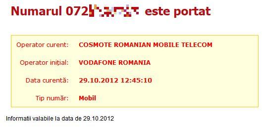 Număr portat din Vodafone către Cosmote