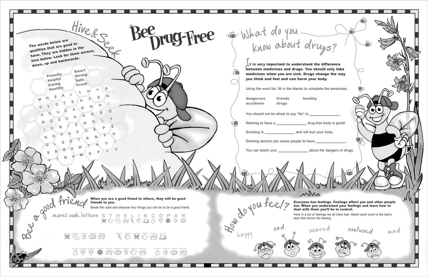 Bee Drug-Free Activity Sheet