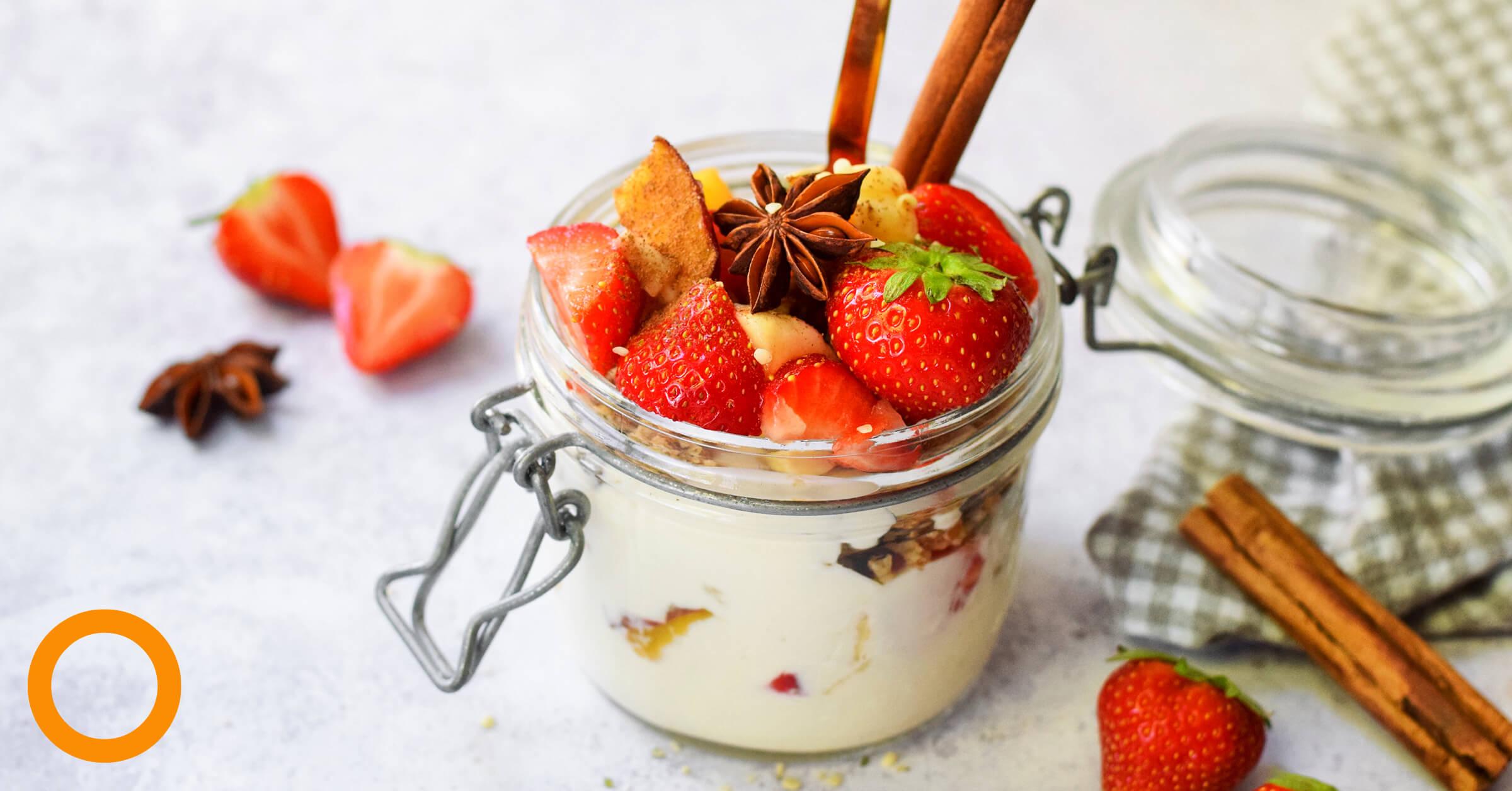 Parfait van kwark/yoghurt, granola en fruit