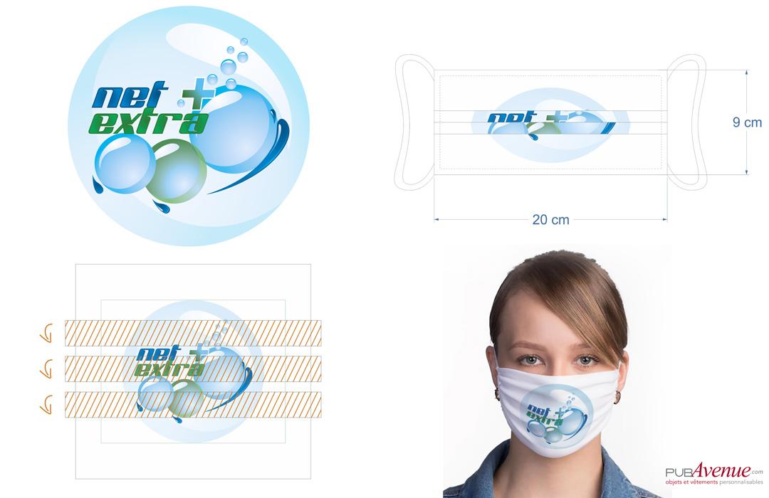 masque de protection covid en tissu personnalisé avec logo