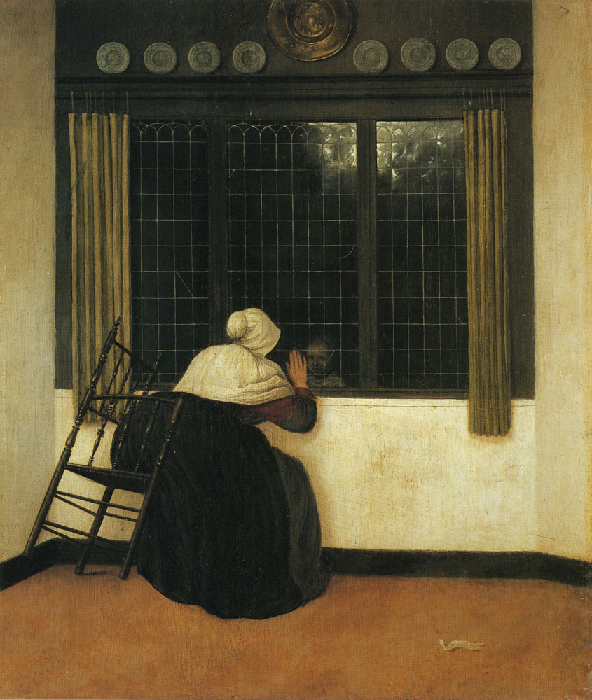 Jacobus Vrel - Woman at a window, waving at a girl