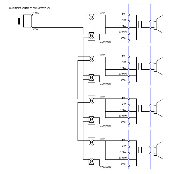 speaker wiring diagram ohms kenworth starter public address system | 100v line pa systems