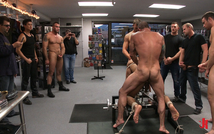 Bound in public  Athletic black gay hunk tied and