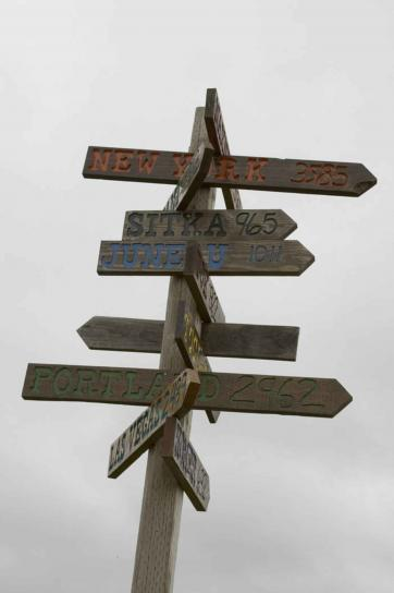 Wooden signpost at crossroads or intersection