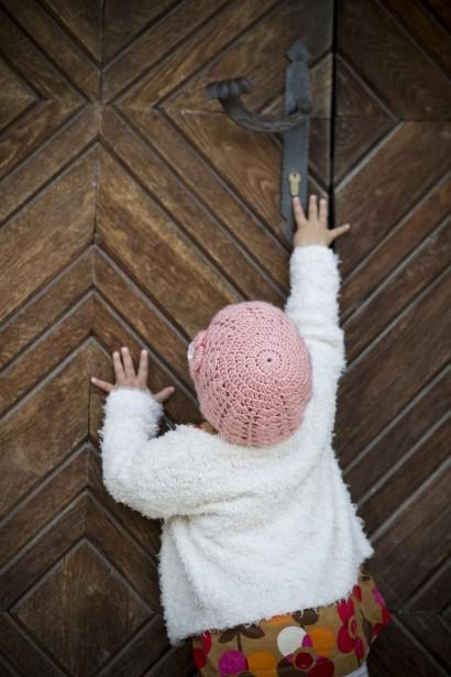 Child Opening The Door Free Stock Photo  Public Domain