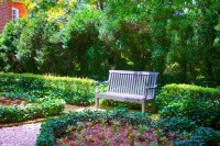 Park Bench In Flower Garden Free Stock Photo - Public ...