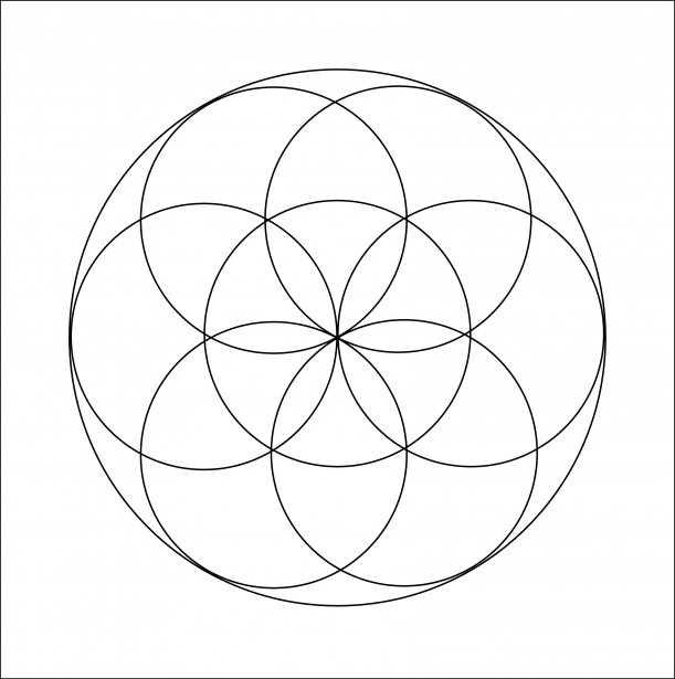 Seed Of Life Outline Coloring Page Free Stock Photo