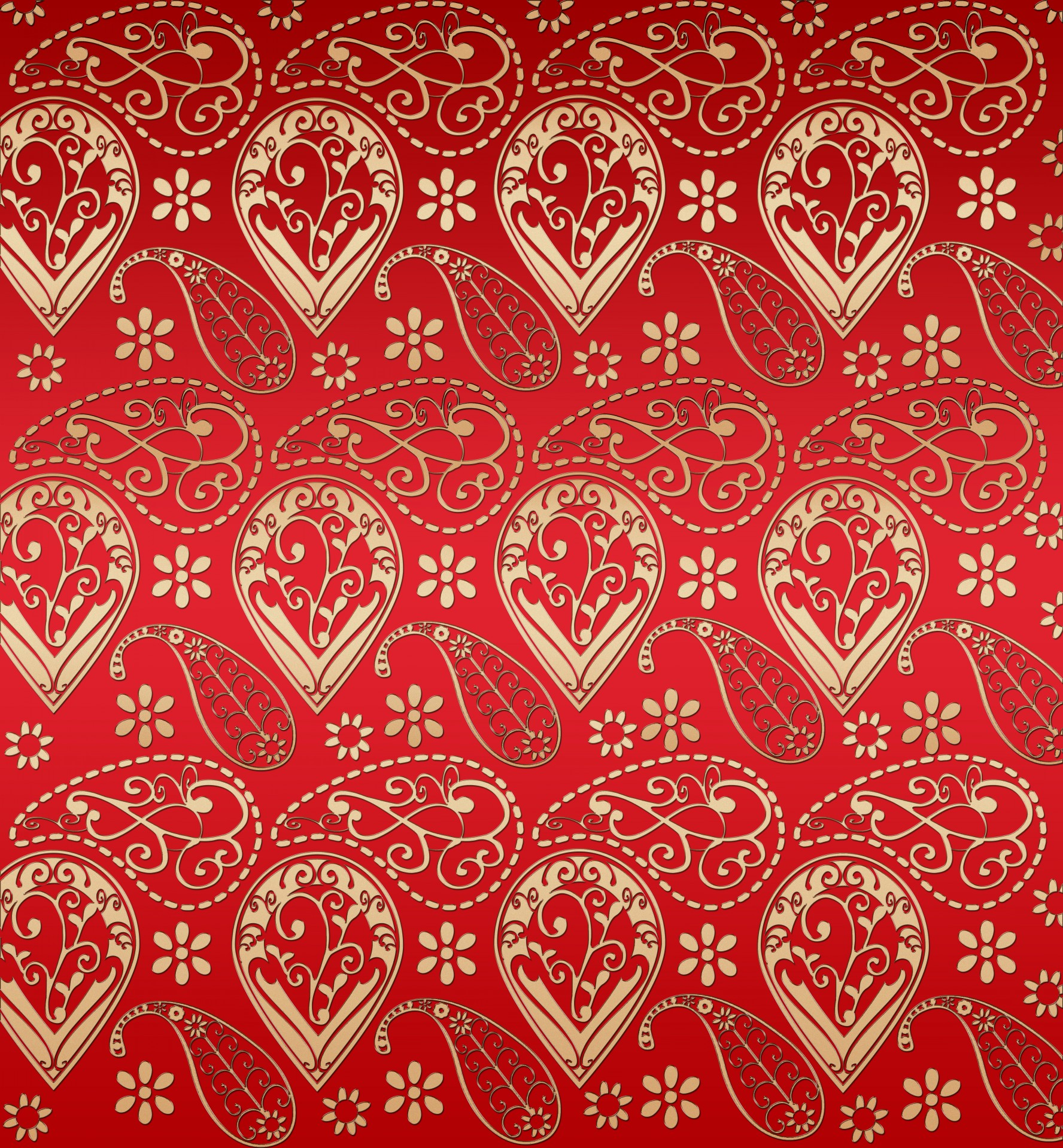 Red And Gold Effect Paisley Pattern Free Stock Photo