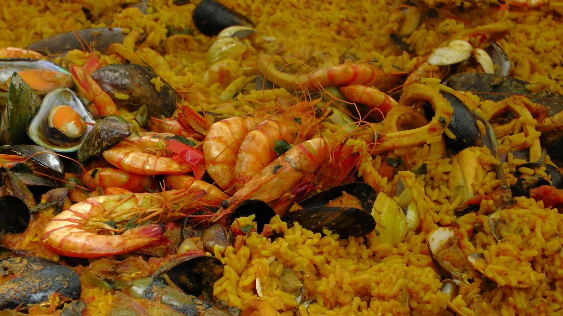 seafod paella, food, food porn