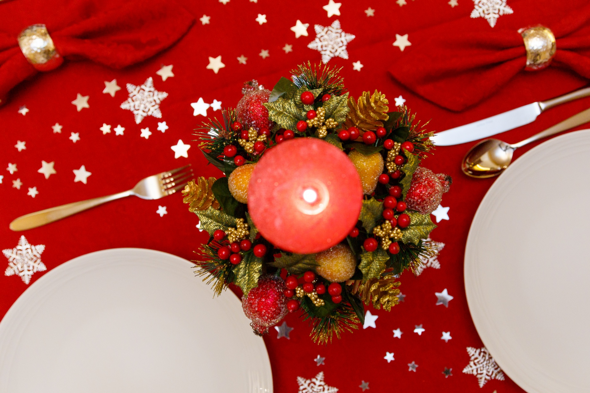 Christmas Dinner Table Free Stock Photo Public Domain