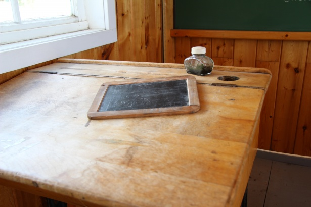 School Desk Chalkboard Inkwell Free Stock Photo  Public