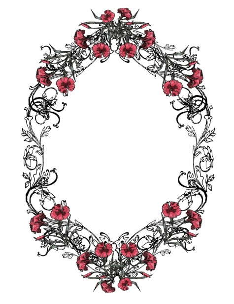 Vintage Oval Frame In Black And Red Free Stock Photo