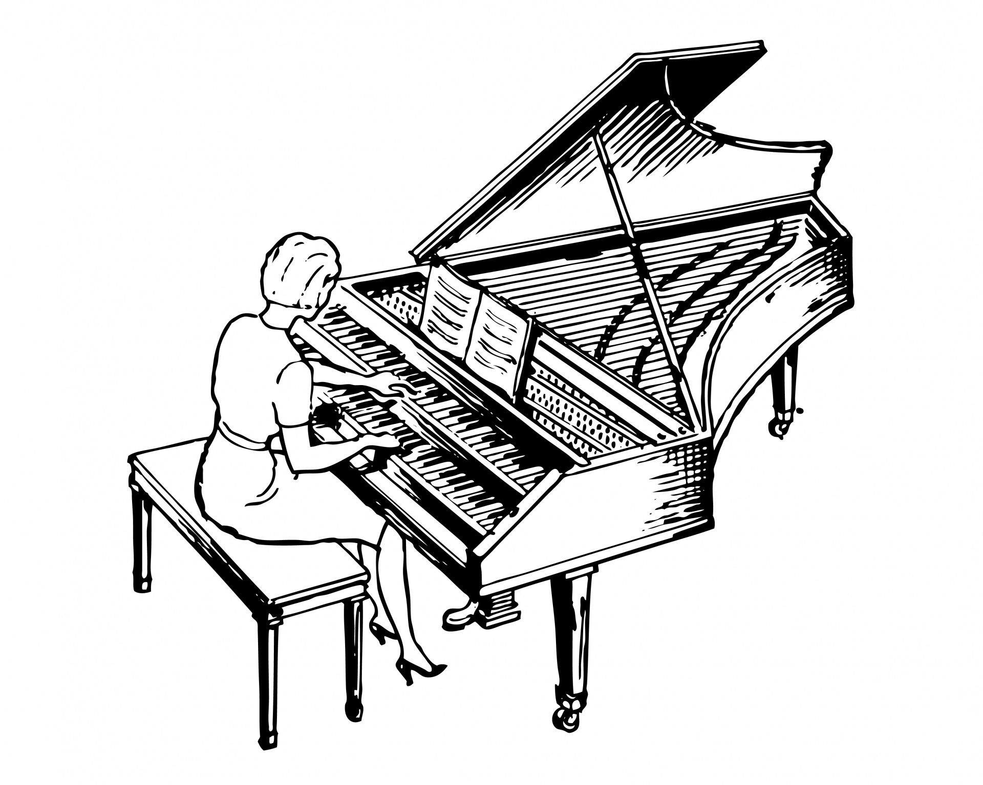 Woman Playing Harpsichord Clipart Free Stock Photo