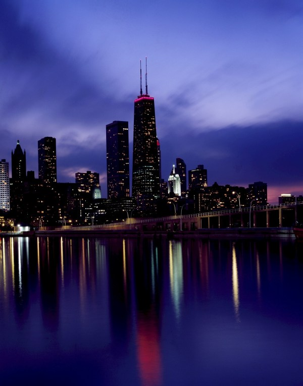 Chicago Skyline Dusk View Free Stock - Public Domain