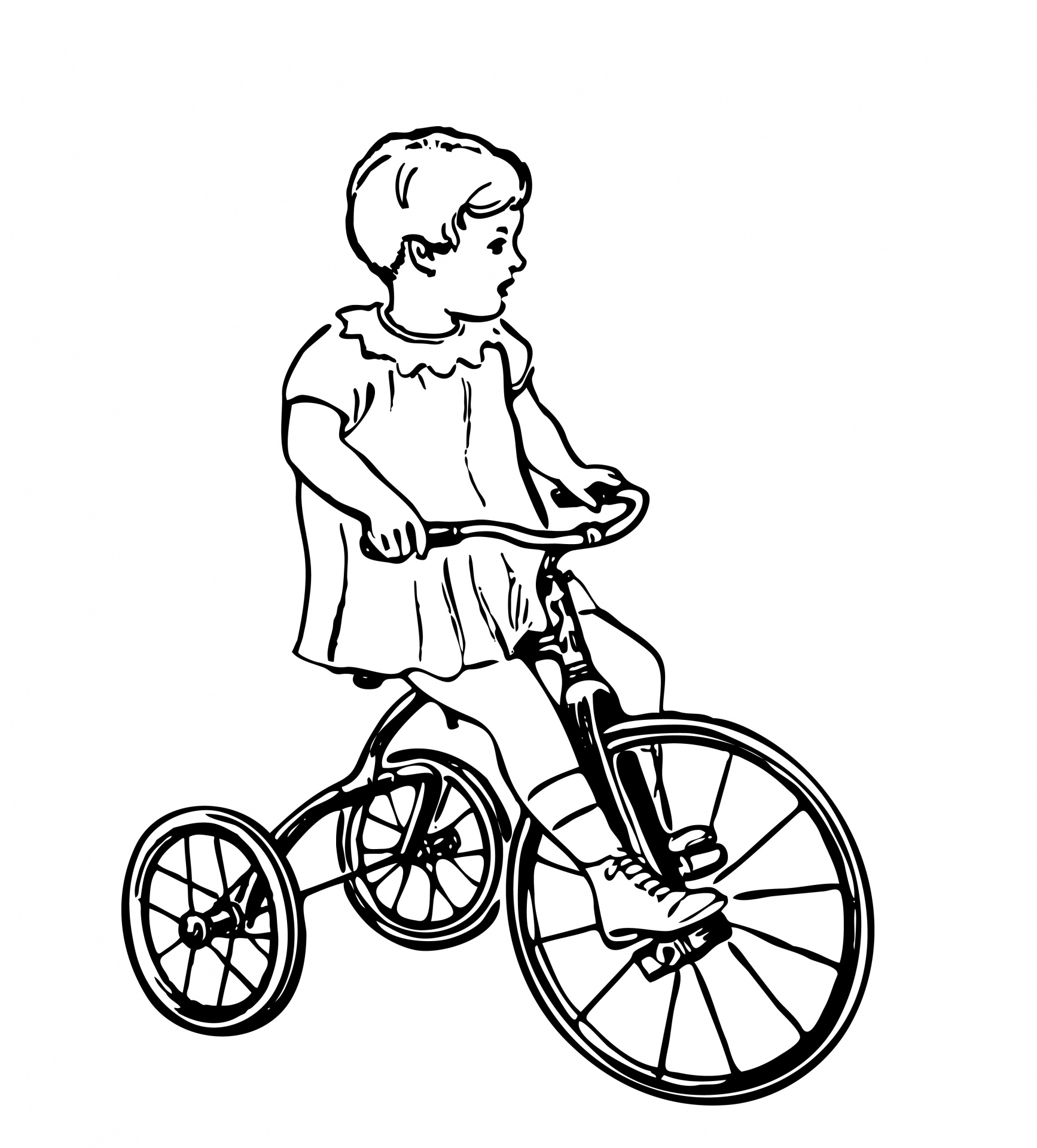 Child Riding Trike Illustration Free Stock Photo