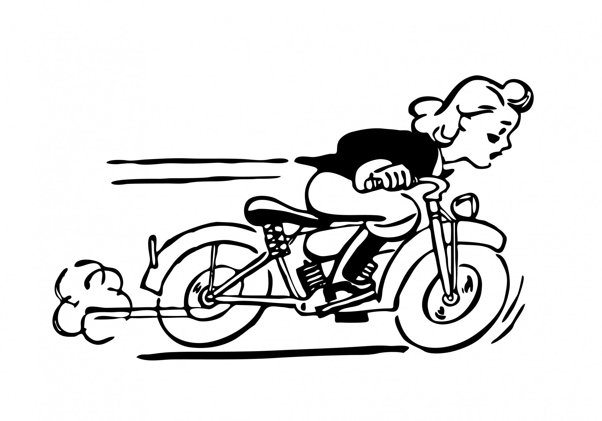 Lady Reiten Motorrad Clipart Kostenloses Stock Bild