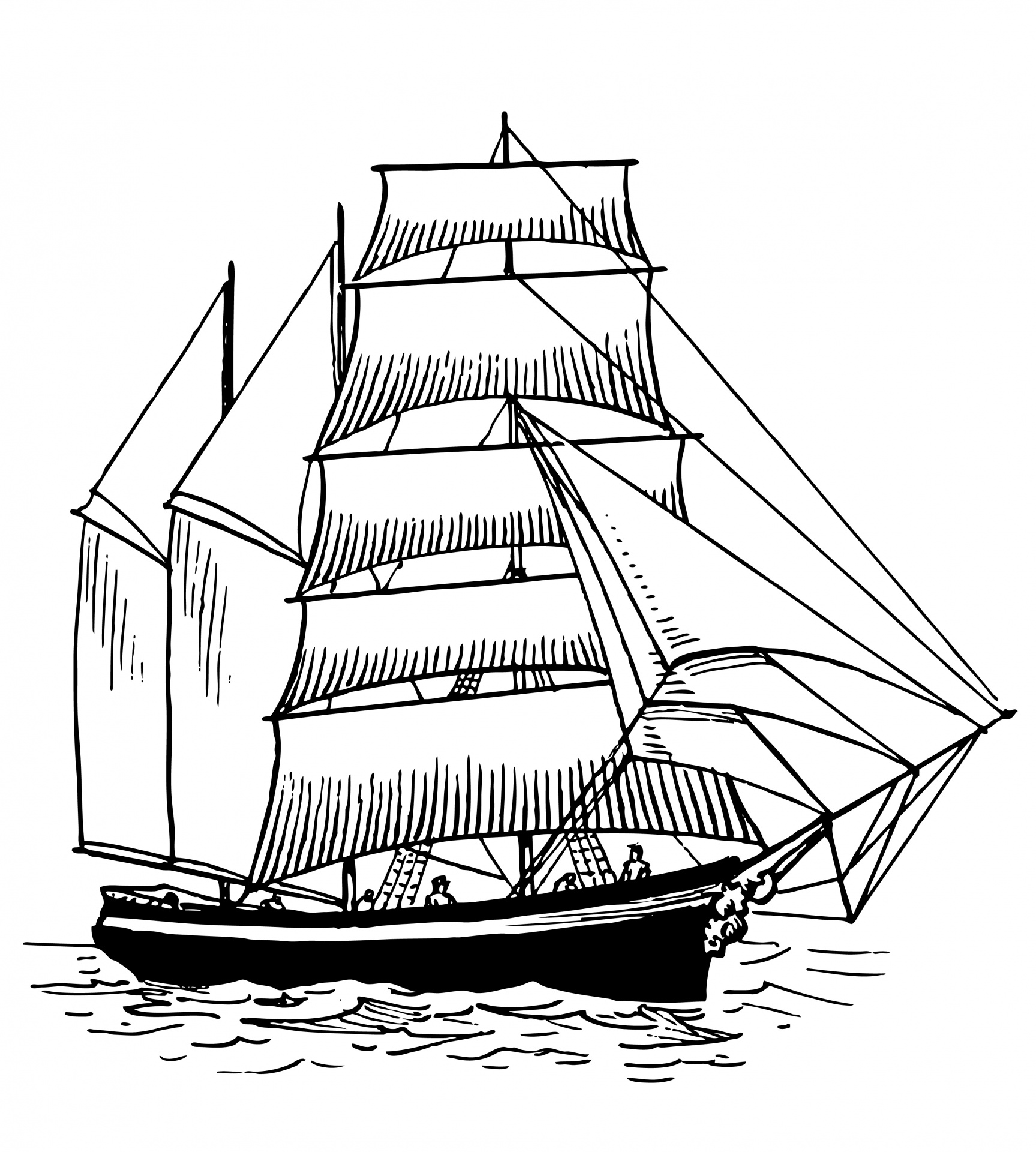 Ship Clipart Vintage Illustration Free Stock Photo