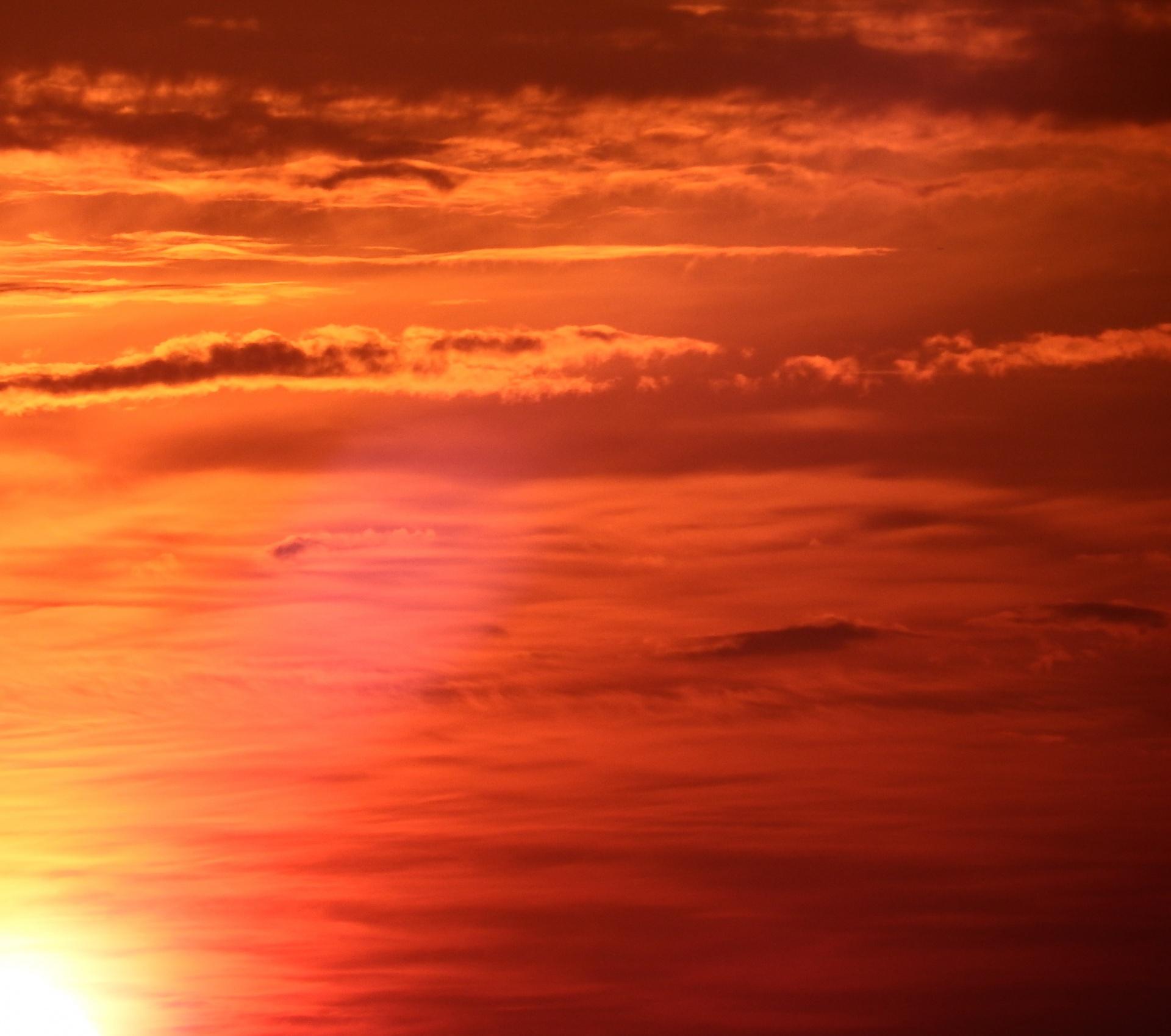 Bright Orange Sunset Sky Free Stock Photo Public Domain