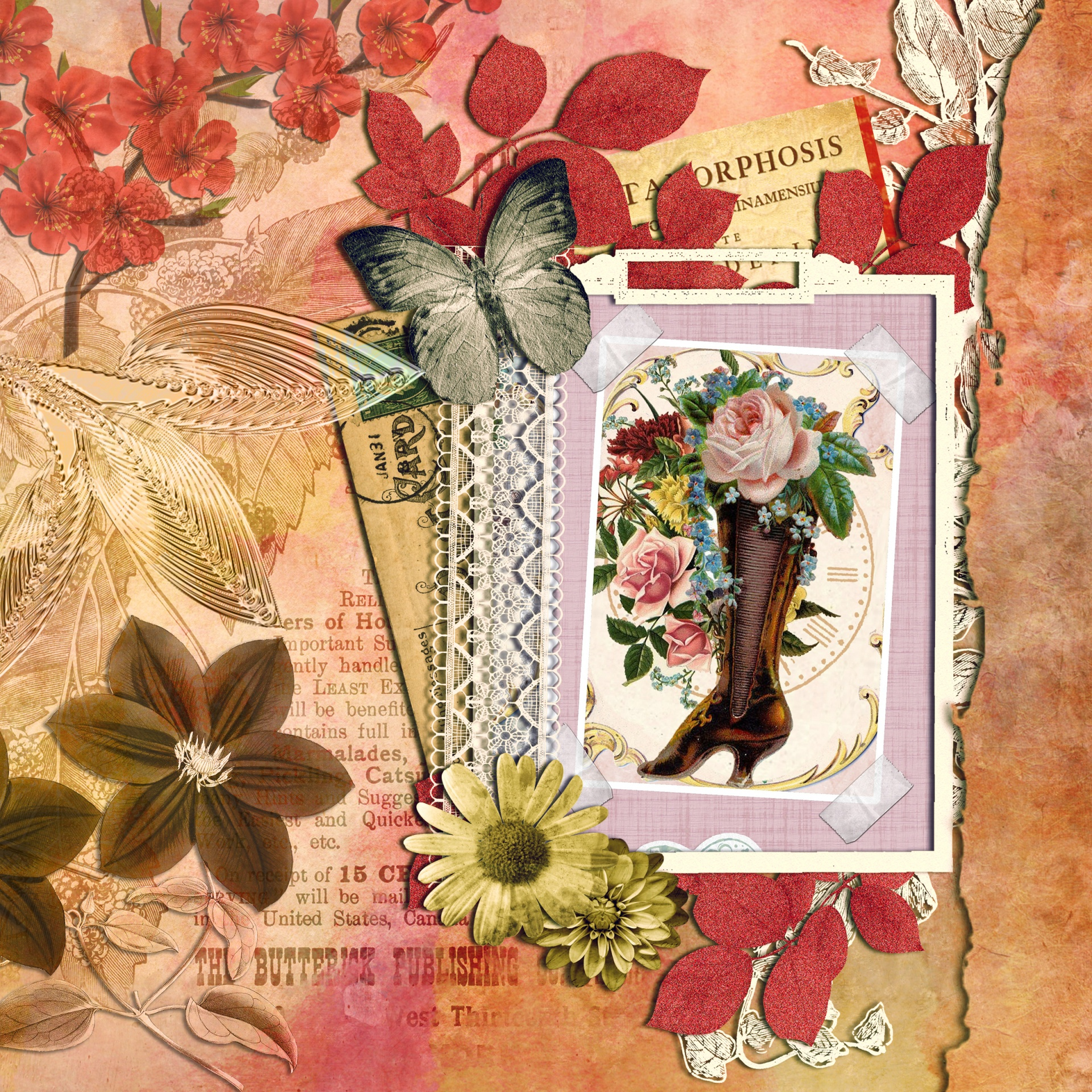 Floral Background Scrapbooking Page Free Stock Photo