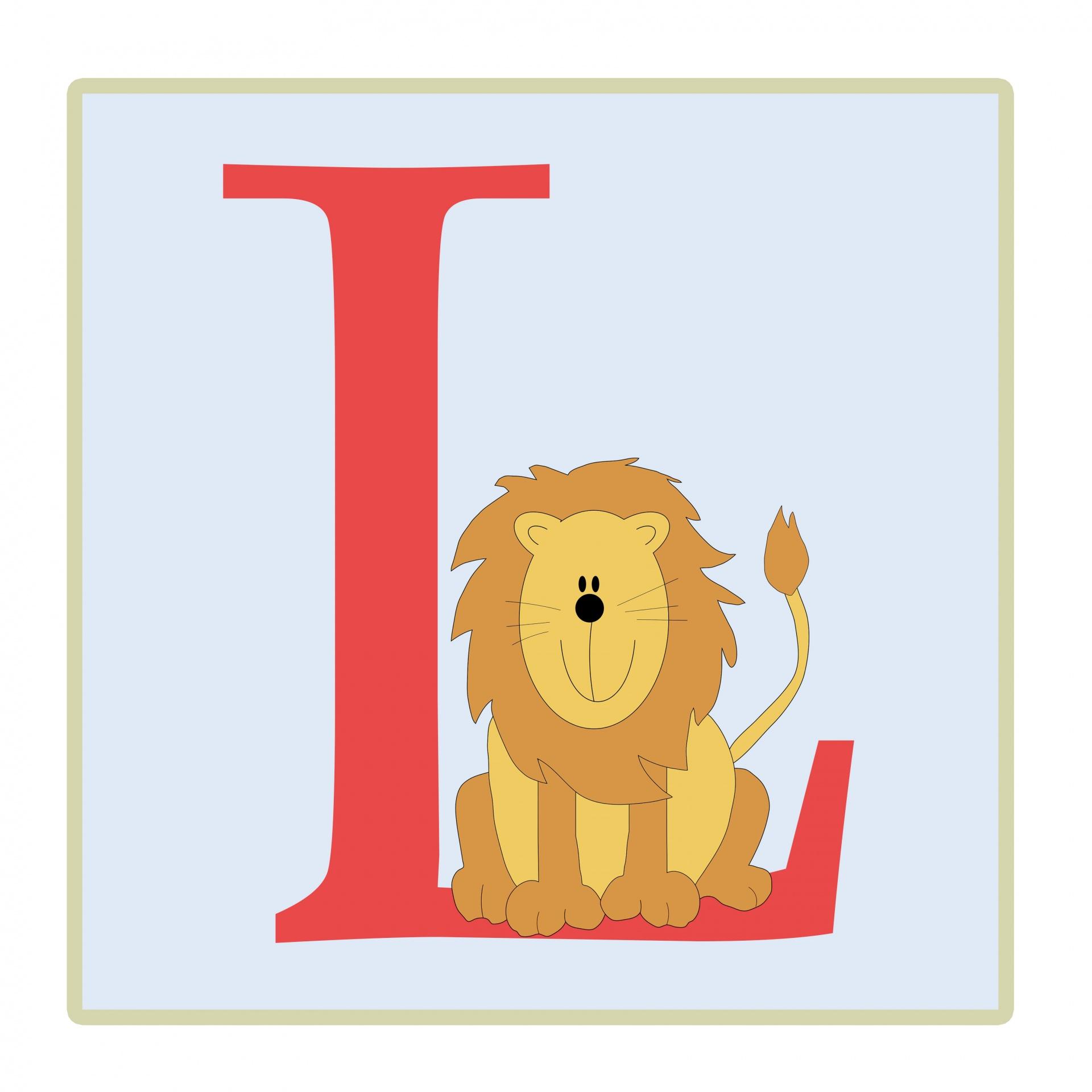 Letter L Lion Illustration Free Stock Photo
