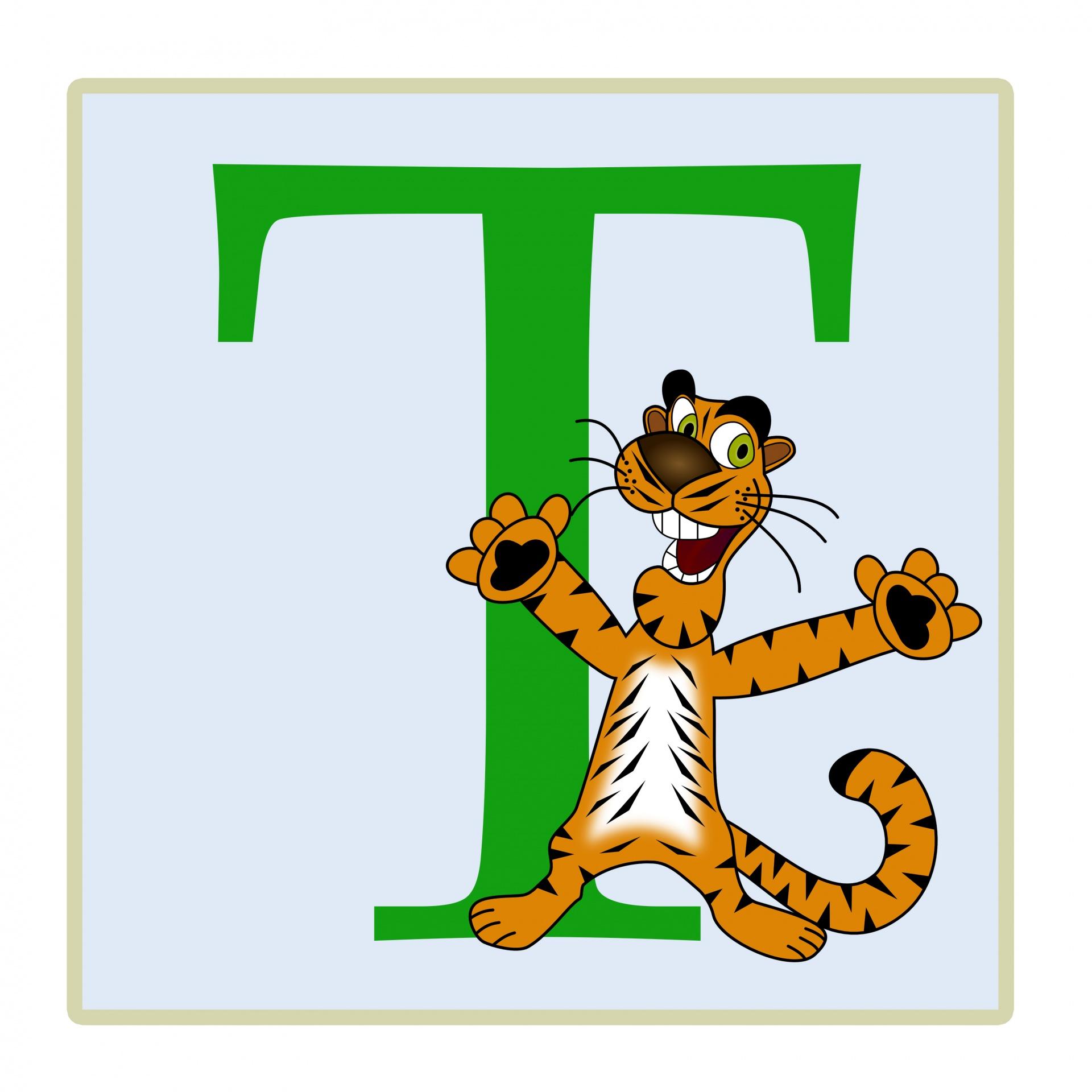 Letter T Tiger Illustration Free Stock Photo