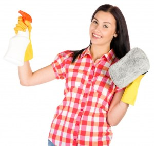 woman cleaning stay at home mom