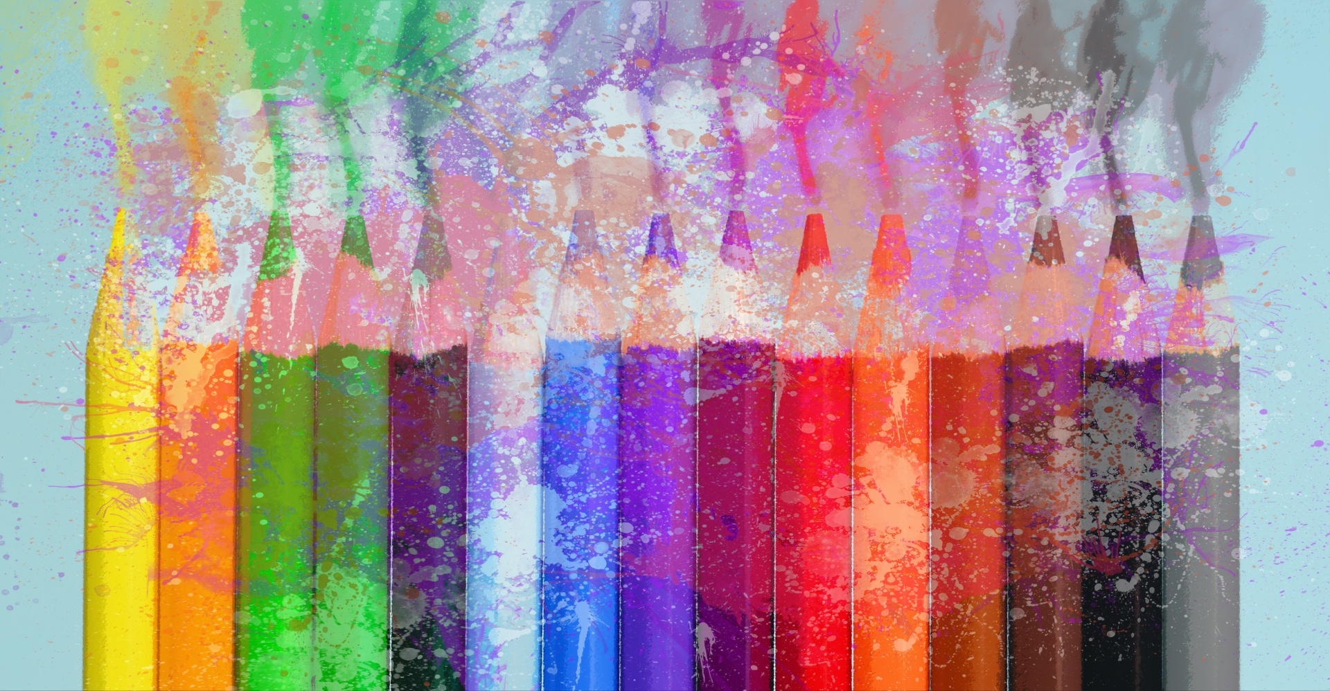 Crayons Watercolor Splash Free Stock Photo  Public Domain
