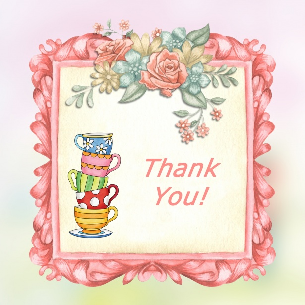 Vintage Floral Thank You Card Free Stock Photo Public Domain Pictures