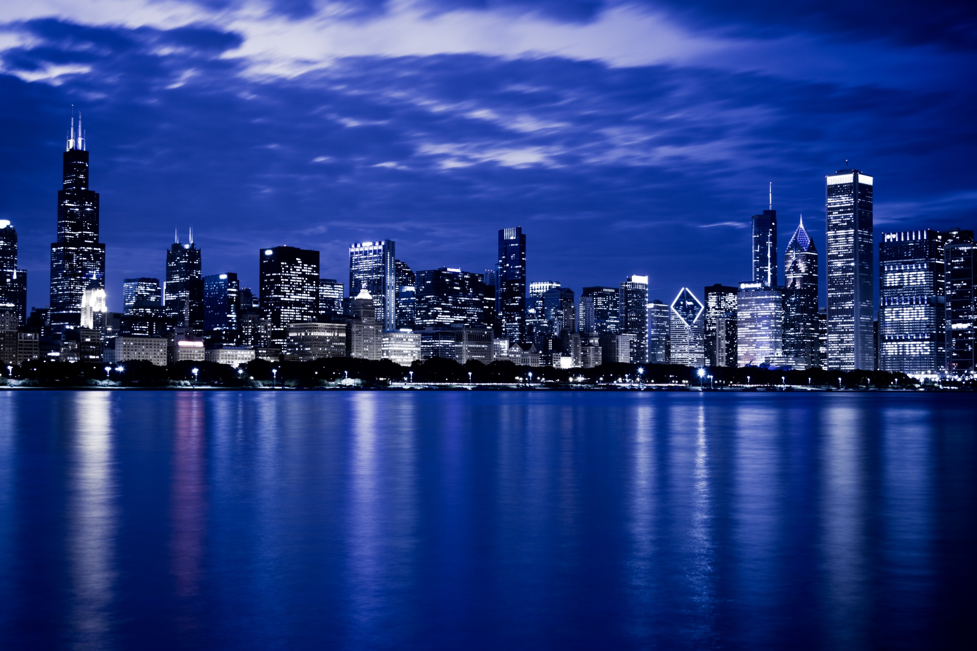 Fall Computer Screen Wallpaper Chicago Skyline At Night Free Stock Photo Public Domain