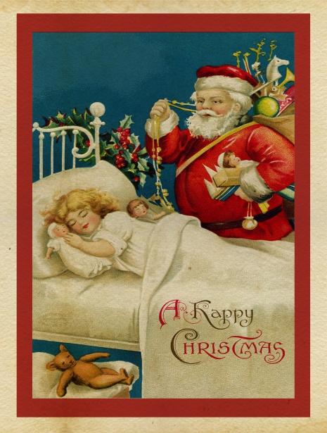 Christmas Vintage Santa Card Free Stock Photo Public