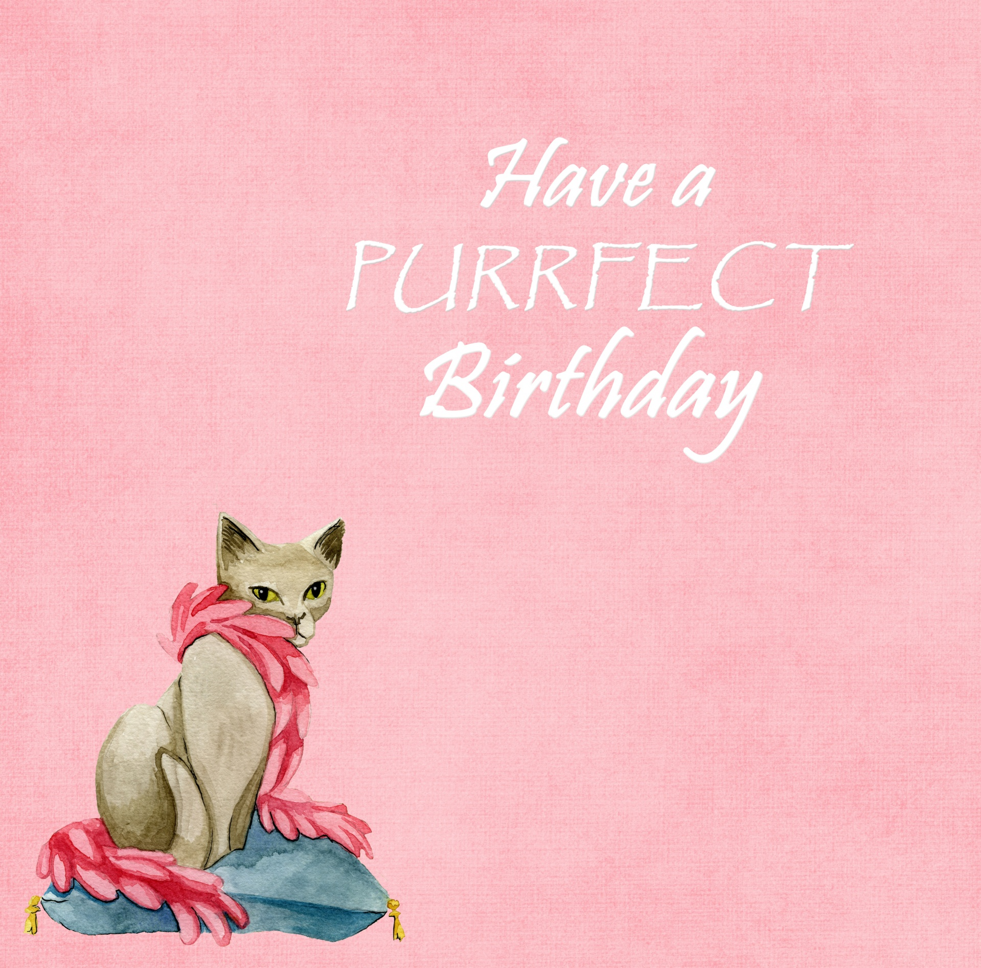 Cat Watercolor Birthday Card Free Stock Photo  Public