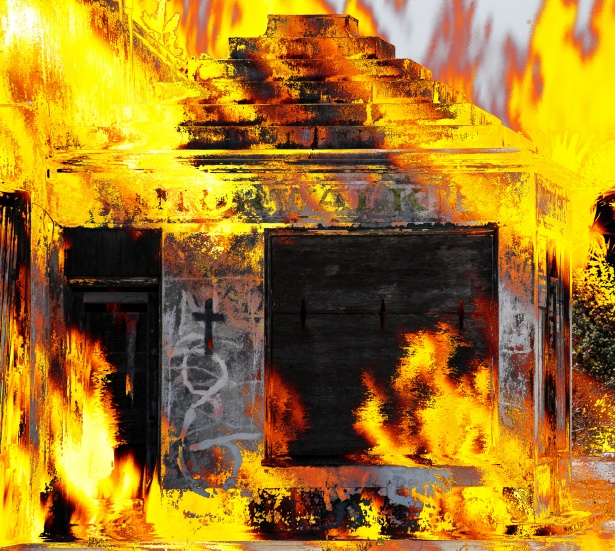 building on fire background