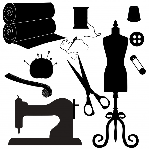 sewing symbols clipart silhouette