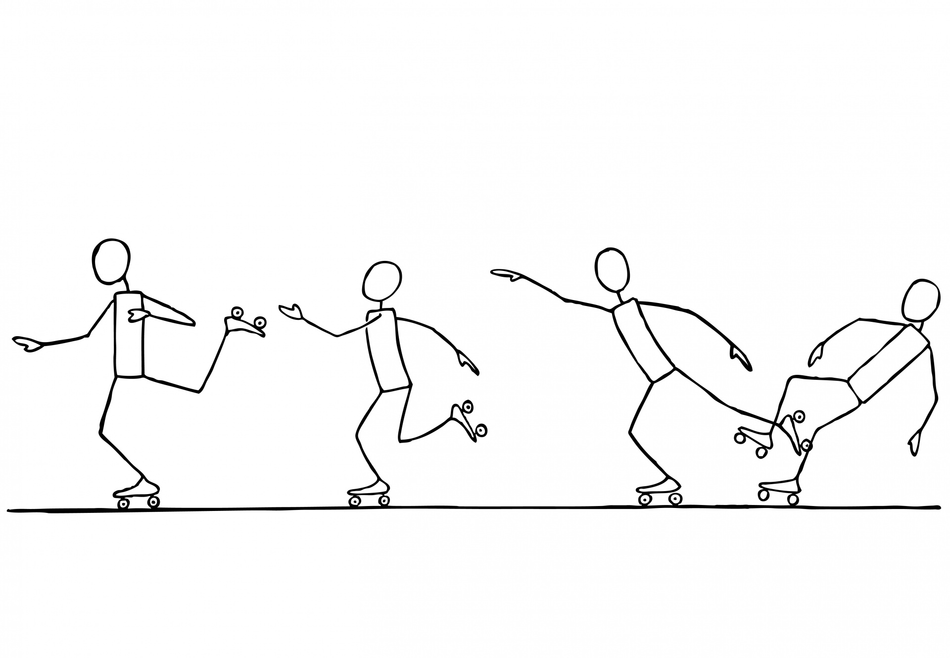 Roller Skating Stick Figures Free Stock Photo