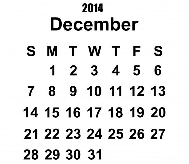 2014年12月日历模板图片