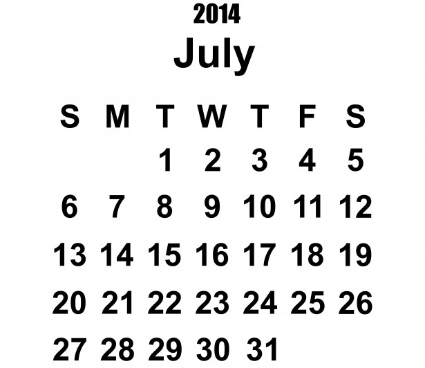 2014 July Calendar Clip Art