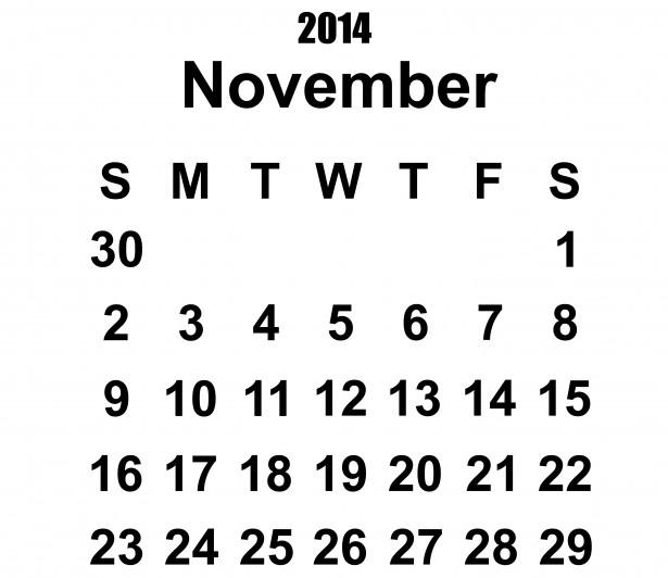 Calendário 2014 Template novembro Foto stock gratuita