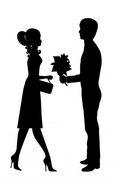 romantic young couple clipart free